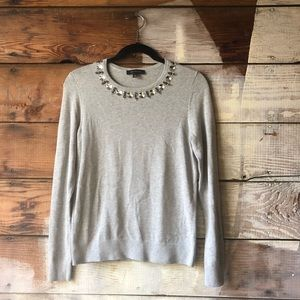 Ann Taylor Jeweled Crew Neck Sweater Size S